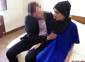 Shy Arab hotel visitor became one day fucking girlfriend for big cock boss