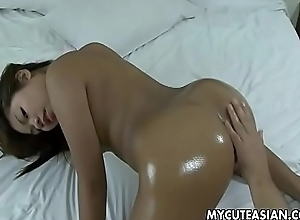 Oiled relating to ass fucked doggystyle by a chubby dude
