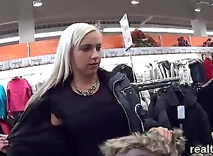 Charming czech kitten is tempted in the shopping centre and drilled in pov