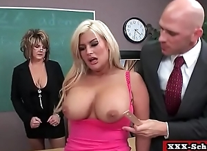 Teacher and schoolgirl showing their big tits in classroom 17